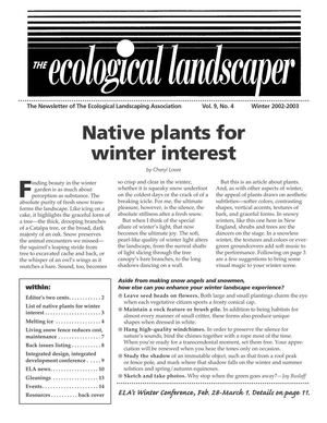 Winter 2002 The Ecological Landscaper Newsletter