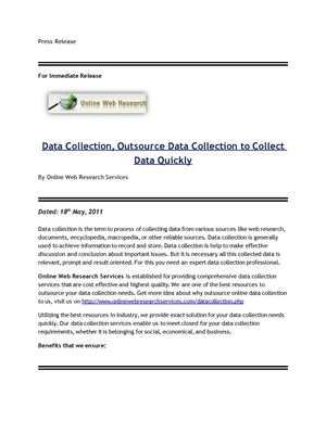 Data Collection, Outsource Data Collection to Collect Data Quickly