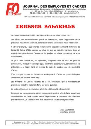 RESOLUTION DU CONSEIL NATIONAL DE LA FEC FO 17 ET 18 MAI 2011