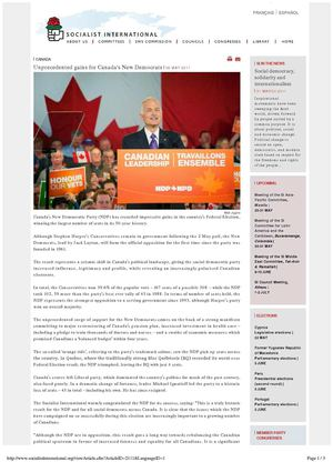 FULL STORY: CANADA - Unprecedented gains for Canada's New Democrats SOCIALIST INTERNATIONAL 6 May 2011