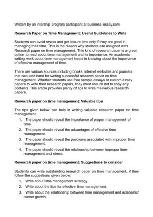 Research Paper On Time Management