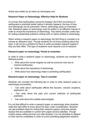 research paper on seismology effective help for students research paper on seismology effective help for students