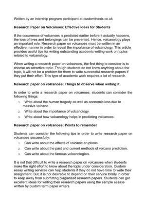 Calamo  Research Paper On Volcanoes Effective Ideas For Students