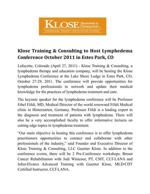 Klose Training & Consulting to Host Lymphedema      Conference October 2011 in Estes Park, CO