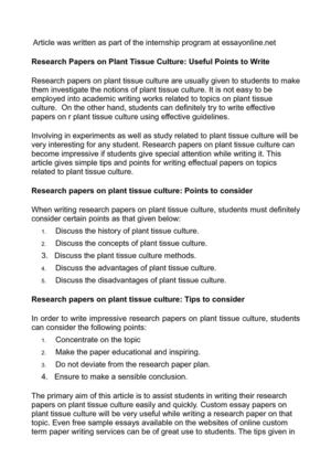 Calaméo - Research Papers On Plant Tissue Culture: Useful Points