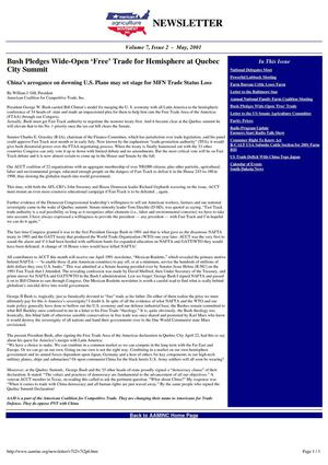 """Bush Pledges Wide-Open 'Free' Trade for Hemisphere at Quebec City Summit,"" AAM Newsletter, Volume 7, Issue 2, May 2001"