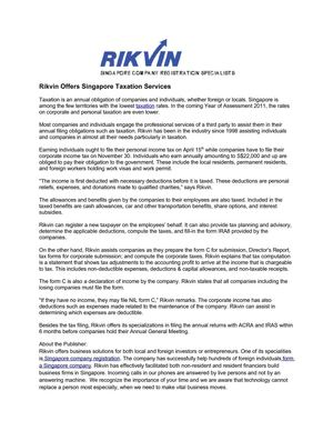 Rikvin Offers Singapore Taxation Services