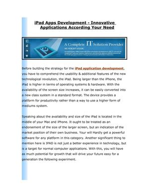 iPad Apps Development - Innovative Applications According Your Need