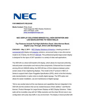 NEC DISPLAY SOLUTIONS BRINGS FULL HIGH-DEFINITION AND LED BACKLIGHTING TO VIDEO WALLS