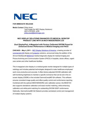 NEC DISPLAY SOLUTIONS ENHANCES ITS MEDICAL DESKTOP PRODUCT LINE WITH 30-INCH WIDESCREEN LCD
