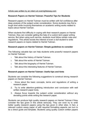 Calamo  Research Papers On Harriet Tubman Powerful Tips For Students
