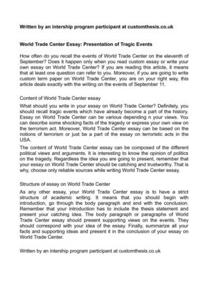 world trade center essay presentation of tragic events world trade center essay presentation of tragic events