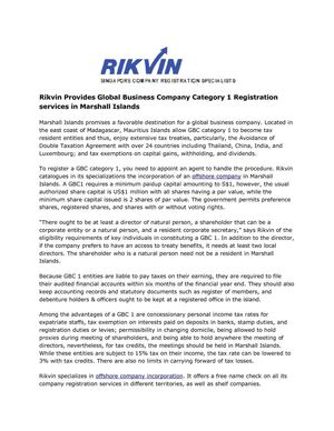 Rikvin Provides Global Business Company Category 1 Registration services in Marshall Islands