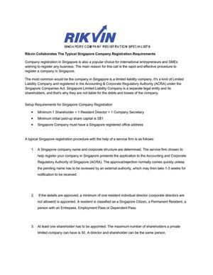 Rikvin Collaborates The Typical Singapore Company Registration Requirements
