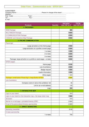 Ordering bulletin SITEVI 2011
