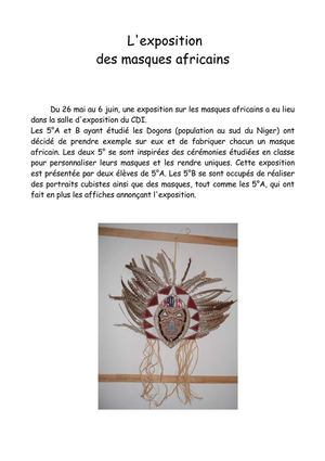 "L'exposition ""les masques africains"""