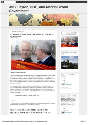 COMMUNIST LINKS OF THE NDP AND THE BLOC QUEBECOIS (18 June 2011)
