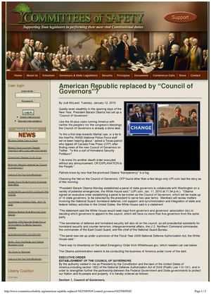 "AMERICAN REPUBLIC REPLACED BY ""COUNCIL OF GOVERNORS""? republished from Judi McLeod, 12 January 2010"