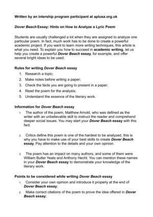 calameo dover beach essay hints on how to analyze a lyric poem dover beach essay hints on how to analyze a lyric poem