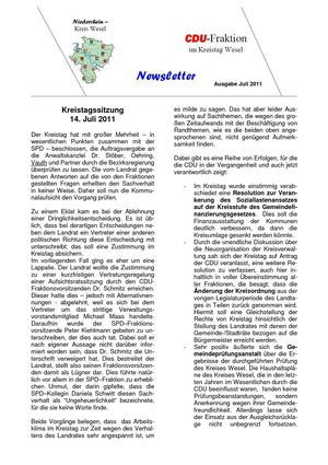Newsletter CDU Kreistagsfraktion 07-11