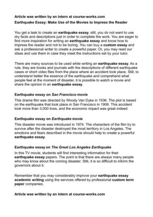 earthquake essay make use of the movies to impress the reader