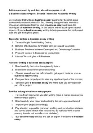 Essay Thesis Ebusiness Essay Papers Several Themes For Academic Writing Business Management Essay Topics also How To Write A Proposal For An Essay Calamo  Ebusiness Essay Papers Several Themes For Academic Writing My English Class Essay