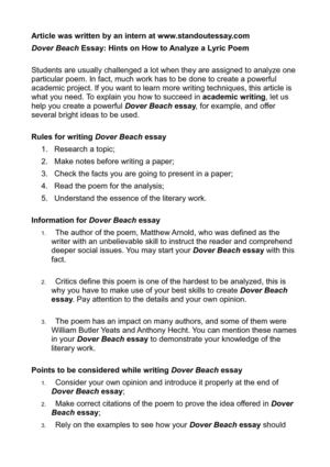 dover beach essays