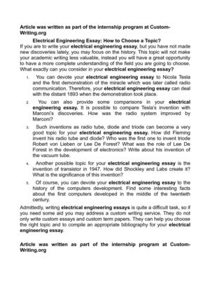 electrical engineering essay how to choose a topic  electrical engineering essay how to choose a topic