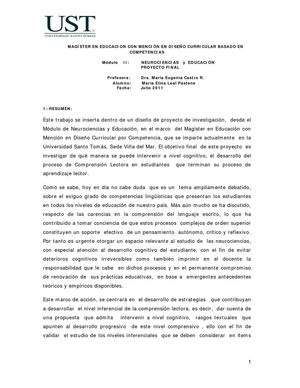 NEUROCIENCIAS Y COMPRENSIÓN LECTORA