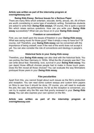 calam atilde copy o swing kids essay serious issues for a serious paper swing kids essay serious issues for a serious paper