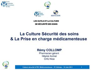 Journée CIPE 160611 Culture securite PEC Medicamenteuse R Collomp