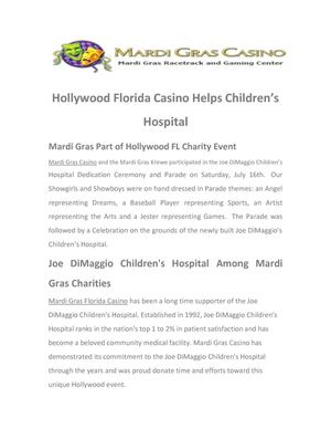 Mardi Gras Hollywood FL Casino Helps Children's Hospital