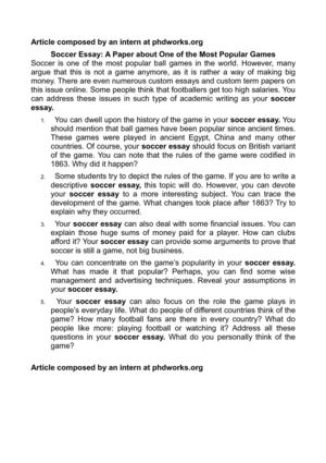 Calam o soccer essay a paper about one of the most popular games