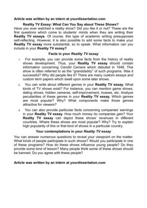 reality tv essay example We have got a brilliant essay example on the topic of how reality tv affects teenagers use the given template to be able to write your own academic paper.