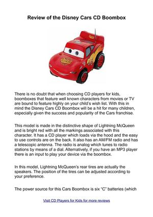 Review of the Disney Cars CD Boombox