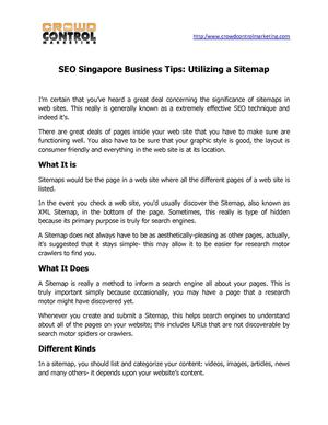 Seo singapore business tips utilizing a sitemap