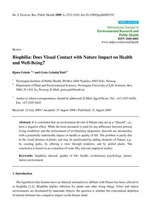 Biophilia: Does Visual Contact with Nature Impact on Health and Well-Being