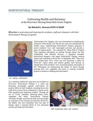 Horticulture Therapy: Cultivating Health and Harmony at the Riverview Nursing Home