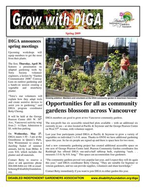Spring 2009 Newsletter - Disabled Independent Gardeners Association