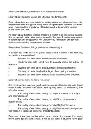 essay about students and teachers Your students' college essay is their opportunity to reveal their best qualities and  to  suggest that they seek essay advice from teachers who know them well.