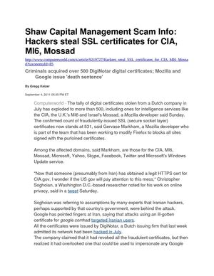 Shaw Capital Management Scam Info: Hackers steal SSL certificates for CIA, MI6, Mossad