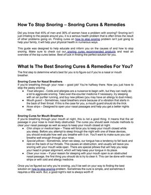 How To Stop Snoring – Snoring Cures & Remedies