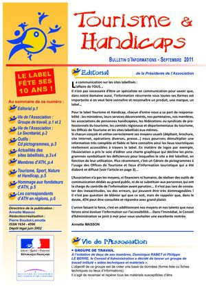 Bulletin Septembre 2011 - Association Tourisme et handicaps