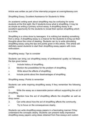Shoplifting essay