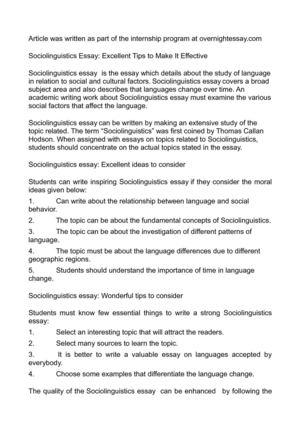 Sociolinguistics essay ideas
