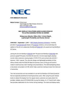NEC DISPLAY SOLUTIONS ADDS 20-INCH EX201W TO ULTRA-SLIM MULTISYNC EX SERIES