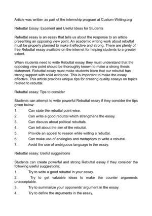 Rebuttal argument essay topics