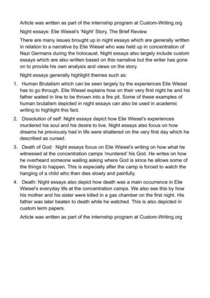 night essays elie wiesel s night story the brief review night essays elie wiesel s night story the brief review