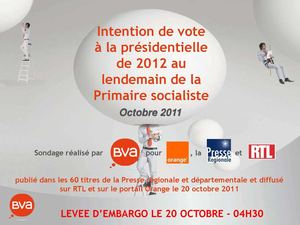 POLITIQUE Sondage - 2012 : Hollande en tête des intentions de vote