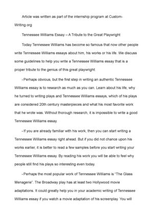 calam atilde copy o tennessee williams essay a tribute to the great playwright tennessee williams essay a tribute to the great playwright